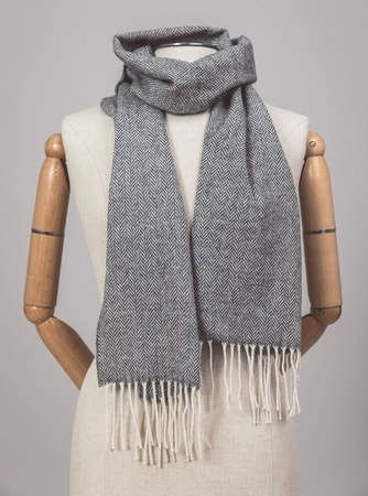 Grey Herringbone, lambswool scarf Ireland