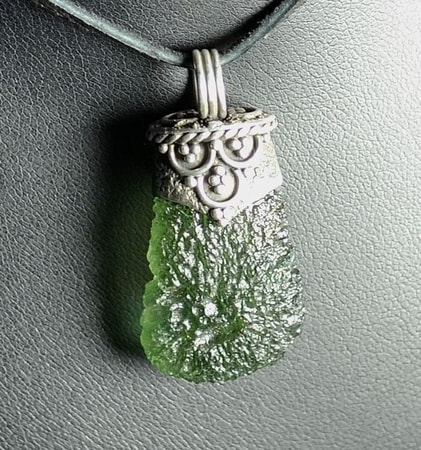 Cor Luxury Silver Jewel With Czech Moldavite Pendant Ag 925