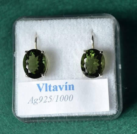 MOLDAVITE SILVER EARRINGS, Ag 925