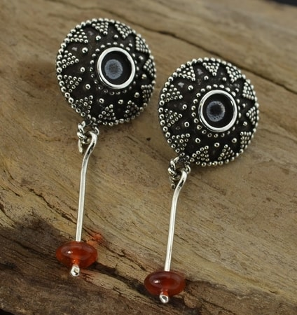ROMAN EMPIRE EARRINGS with garnet, replicas