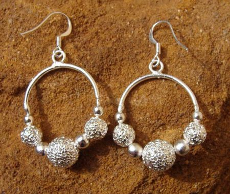 GREAT MORAVIAN EARRINGS, silver plated