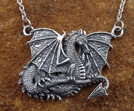 Dragon SIlver Jewels, Fantasy Dragons, Draco Spelaeus, silver necklace