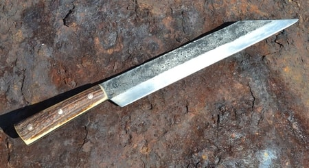 SEAX, HAND FORGED LONG KNIFE, ANTLER, SHARP REPLICA