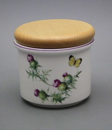 Jar with wooden lid, Scottish Thistle