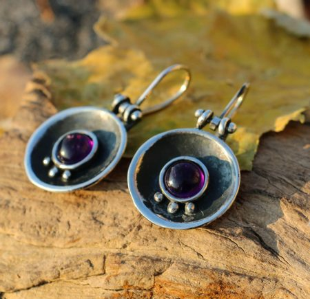 ORBIT, silver earrings, amethyst
