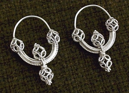 GREAT MORAVIAN SILVER EARRINGS, Ag 925