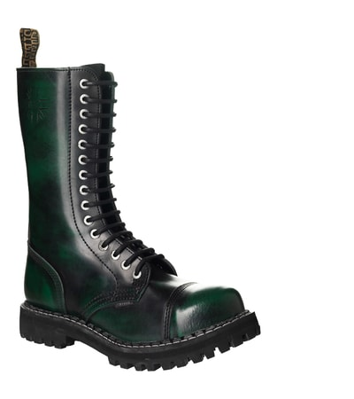 Leather boots STEEL green 15-eyelet-shoes