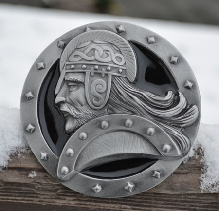 VIKING WARRIOR, black enamel, belt buckle