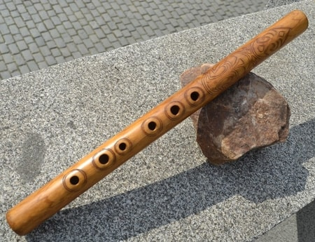 TRADITIONAL FOLK FLUTE, decorated with natural motifs