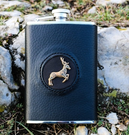 HIP FLASK, CELTIC DEER