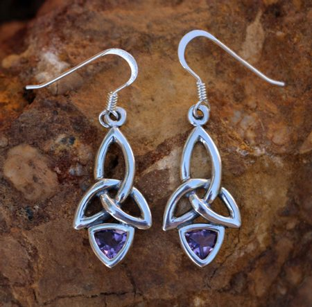 KIRA, EARRINGS, SILVER AND AMETHYST