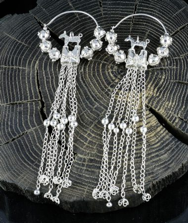 PRINCESS OF Stara Kourim, Slavic earrings, silver, replica