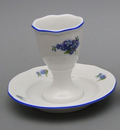 Egg cup with a plate Forget-me-not