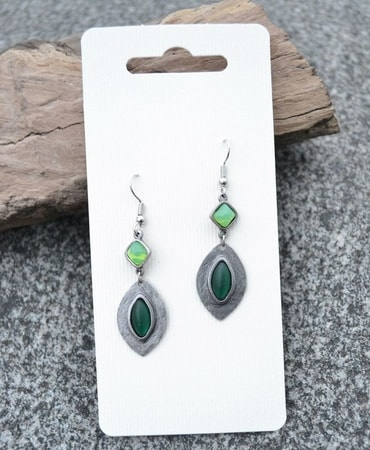 RHEA, green earrings