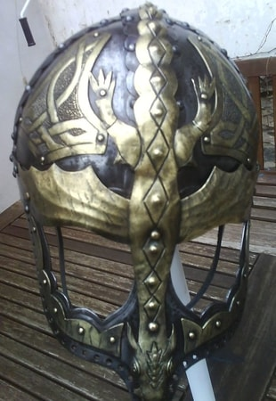 VIKING - DRAGON, fantasy viking helmet with brass
