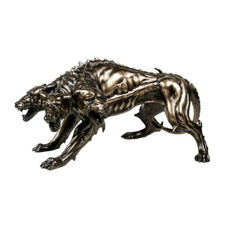 Cerberus, ancient Greek three headed dog, statue
