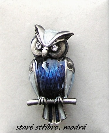 WISE OWL, blue, costume brooch