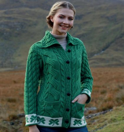 SHAMROCK CARDIGAN, Ladies, Green