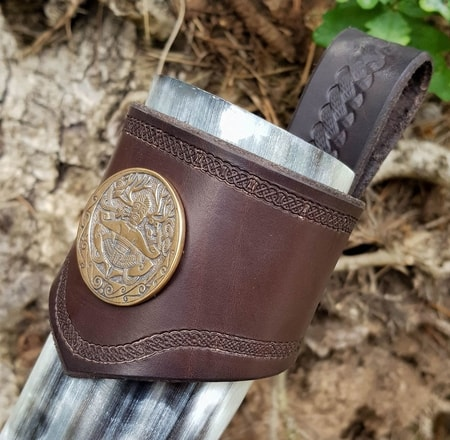 CERNUNNOS, Leather Drinking Horn Holder, brown