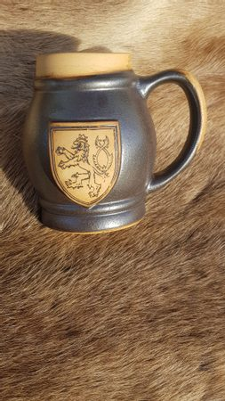 CERAMIC BEER MUG WITH CZECH LION, 0.5 L
