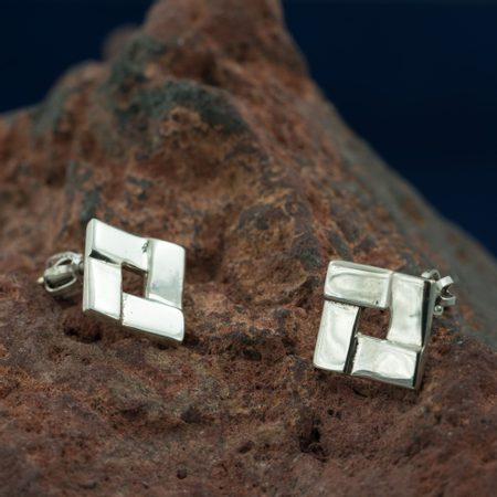 QUADRAT, Art Nouveau, silver earrings