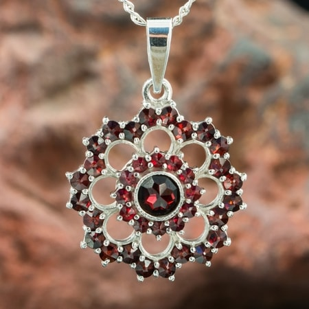 GRETA, garnet, Czech jewel, sterling silver