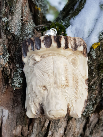 BEAR, CARVED ANTLER PENDANT
