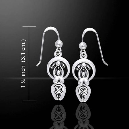 Moon Goddess, silver earrings, Ag 925