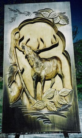 DEER, hand carved wall decoration