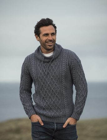 IRISH SWEATER ARAN COLLARED