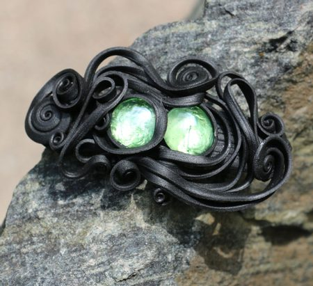 GREEN GLASS, hair brooch