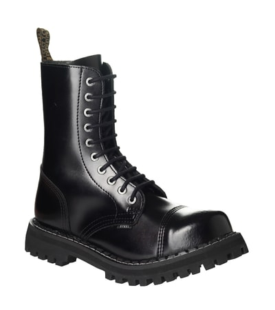 Leather boots STEEL black 10-eyelet-shoes