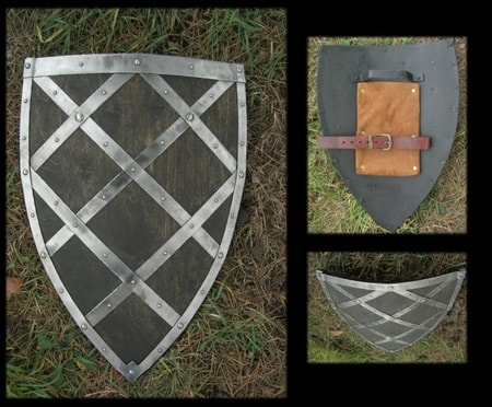 ARMOURED WOODEN GOTHIC SHIELD - battle ready
