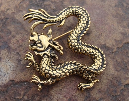 ASIAN DRAGONS JEWELS, BROOCHES, PINS, JEWELRY