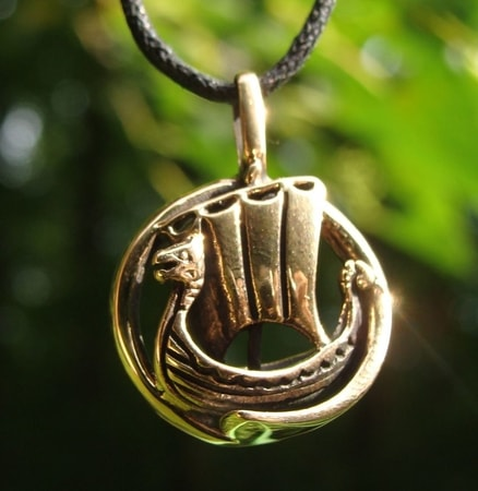 THE DRAKKAR, VIKING DRAGON SHIP, bronze pendant