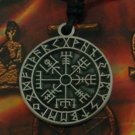 VIKING COMPASS in RUNE CIRCLE, pewter pendant