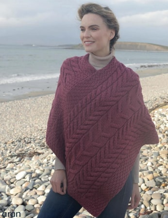VIONA Triangular Poncho, Irish wool