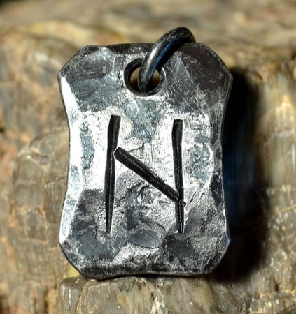 HAGALAZ, forged iron rune pendant