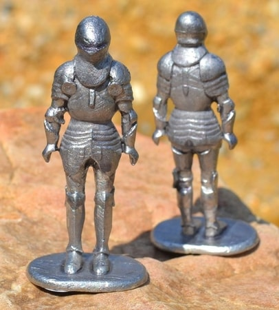 KNIGHT in SUIT OF ARMOR, historical tin statue