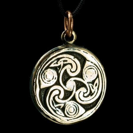 IRISH SPIRALS - Triskele, Book of Kells, bronze pendant