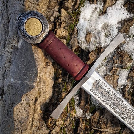 FLORAL ONE-HANDED SWORD ETCHED FULL TANG