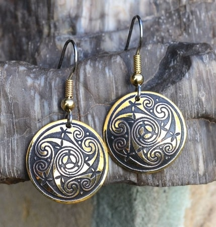 TARANIS, BRASS EARRINGS, MADE IN IRELAND