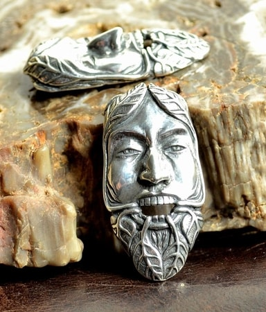 GREEN MAN, the Lord of the Nature and Rebirth, silver pendant Ag 925