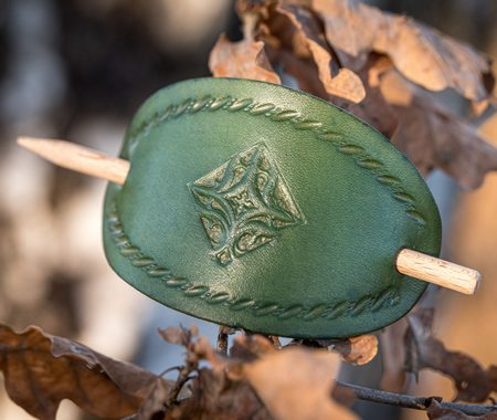 NAPOLI, LEATHER HAIR CLIP, GREEN