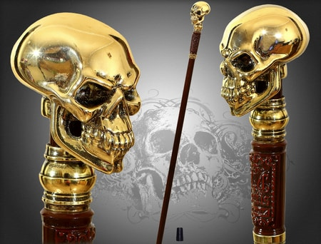 Skull, gold plated - Walking Stick