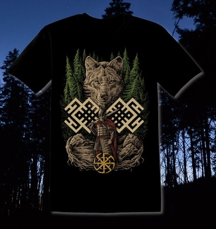 WOLF WARRIOR, Slavic T-Shirt - colored