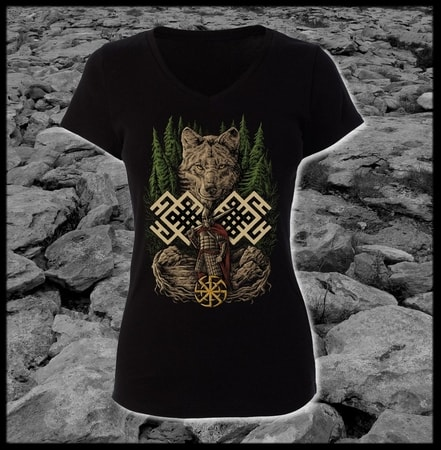 WOLF WARRIOR, SLAVIC LADIES' T-SHIRT - COLORED