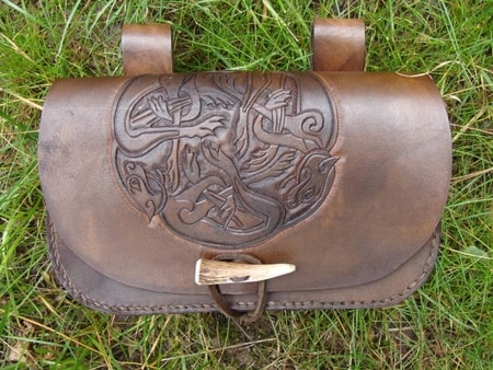 Celtic Wolves, Hand Carved Leather Bag