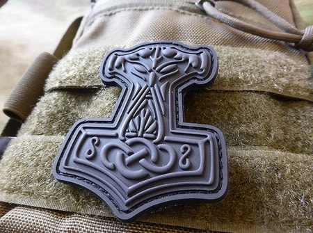 THOR'S HAMMER, 3D BLACK OPS RUBBER VELCRO PATCH