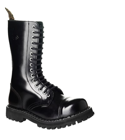 LEATHER BOOTS STEEL BLACK 15-EYELET-SHOES